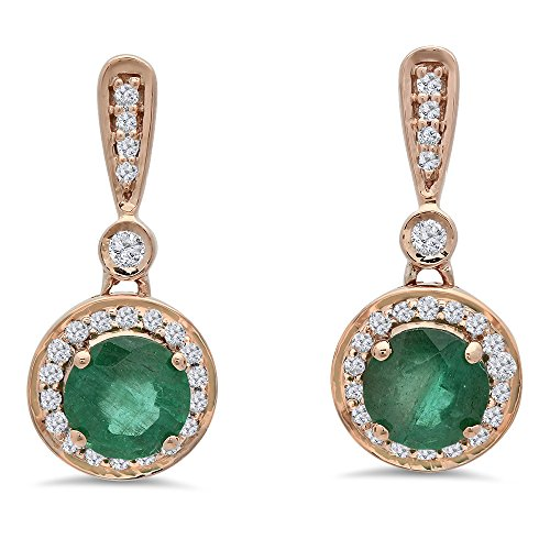 14K Rose Gold Round Green Emerald & White Diamond Ladies Halo Style Dangling Drop Earrings by DazzlingRock Collection