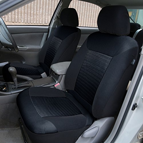 FH Group FB062BLACK115 Seat Cover (Premium Fabric with 3D Air Mesh Airbag Compatible (Set of 2) Black)