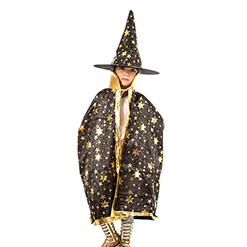 [Fashionclubs Kids Halloween Cosplay Costumes Star Cloak Cape With Witch Hat (Black)] (Adult Purple Wizard Costumes)
