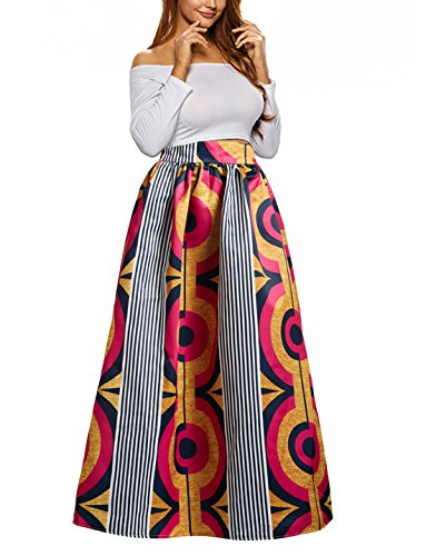 Uideazone Women Maxi Skirts Vintage African Floral Printed Pleated A-line Long (Printed Maxi Skirt)