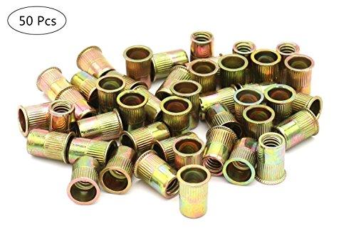 Zinc Plated Carbon Steel Rivet Nut Flat Head Insert Nutsert Pack of 50 (1/4-20)