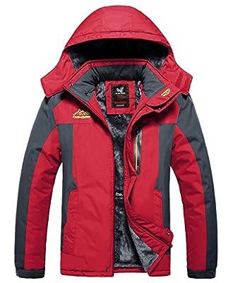 Lega Men's Waterproof Front Zip Ski Jacket Fleece Hooded Outwear