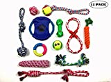 Puppy Teething Chew Toys: Fun and Interactive Puppy and Dog Teething Chew Toys Variety set Mix(Ropes, Balls, Plushies) rope knot dog toy great for Medium, Small Dogs Teething(Random Colors) (12-PACK)