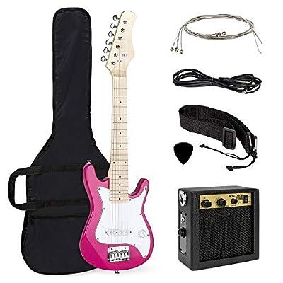 Best Choice Products 30in Kids 6-String Electric Guitar Beginner Starter Kit Bundle w/ 5W Amplifier, Strap, Case, Strings, Picks - Pink