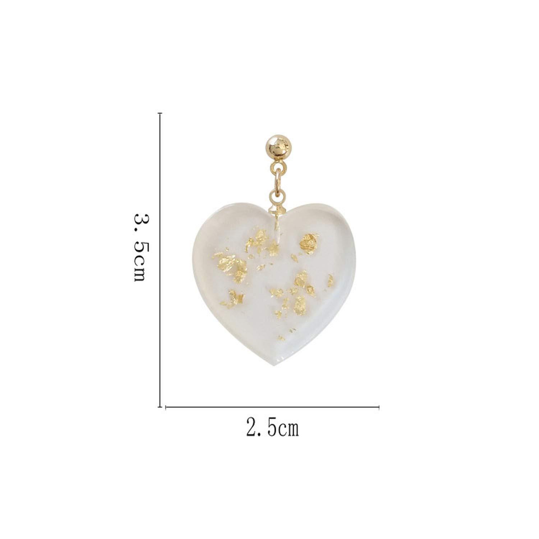 Transparent heart-shaped earrings Metallic temperament contracted heart fashion tide female stud earrings