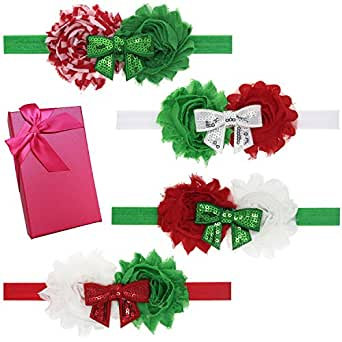 Elesa Miracle Hair Accessories Lovely Baby Girl's Gift Box with Bow Flower Hair Headband (4pc- Christmas Color Set B)