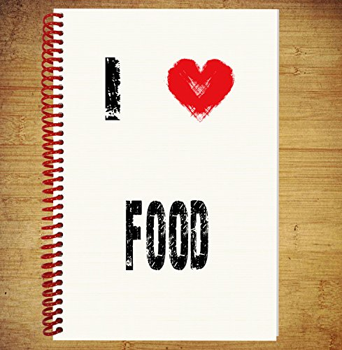 AKGifts A5 Notebook / Drawing Pad Diary Thoughts Ideas Plans - I Love Food (7 - 10 BUSINESS DAYS DELIVERY FROM (Halloween Main Course Dishes)