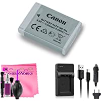 Canon Battery Pack NB-13L + On-The-Go Travel Charger + Camera Works Cleaning Solution (For: G7 X, G9 X, SX620 HS, SX720 HS, SX730 HS, G1 X Mark III, G5 X, G7 X Mark II, G9 X Mark II)