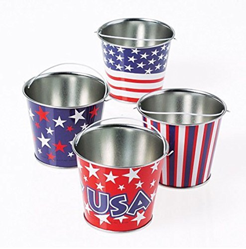 4th Of July Party Games (GIFTEXPRESS 1 Dozen Mini Patriotic Metal Buckets Patriotic Party Favor, 4th of July Goody Buckets for patriotic decorations and party)