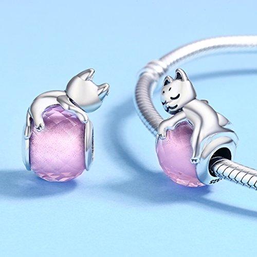 Abalorio de gato de plata de ley 925 con circonita cúbica rosa, para pulsera y collar, regalo de Navidad para mujeres y niñas