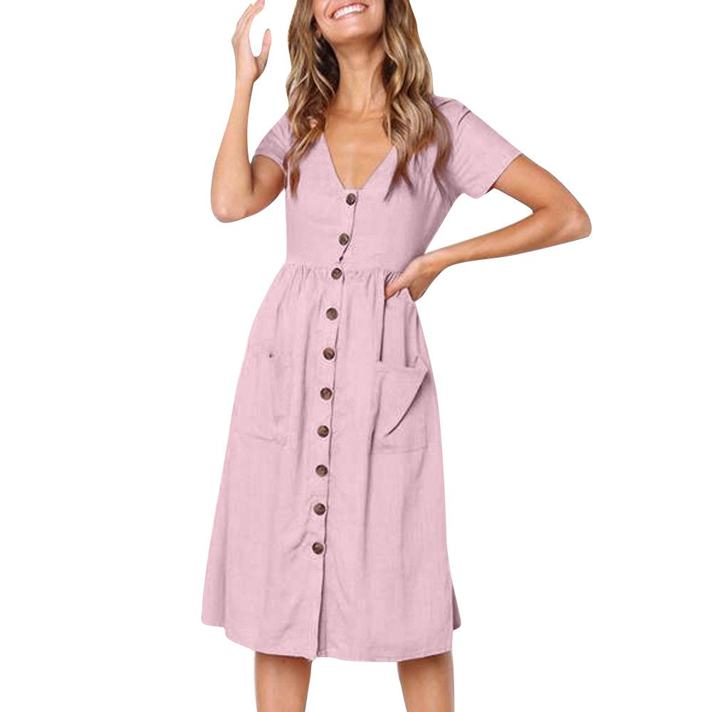 Women's Short Sleeve Casual Button Down Solid Color Loose Swing Dress with Pockets (M, Pink)