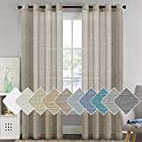 Ultra Elegant Natural Linen Curtains Soft Linen Sheer Curtains for Living Room/Country Style Home Decor Window Privacy Translucent Linen Textured Drapes for Bedroom (52 by 96 Inch, Set of 2, Taupe)