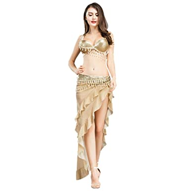 7beb594e3 ROYAL SMEELA Belly Dance Costume Set for Women, Gold Belly Dance Bra and  Triangle Hip