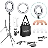 Neewer 14-inch Outer 10-inch Inner Dimmable LED Ring Light Lighting Kit with 59 inches Light Stand, Phone Holder, Diffuser, White Orange Filters for Photo Studio Youtube Video Shooting (US/EU Plug)