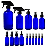 Cobalt Blue Bottle Glass 15 Piece Starter Set Kit - Includes 2 oz, 4 oz, 8 oz, 16 oz Glass Bottles, and 6-10 ml Cobalt Blue Aromatherapy Glass ​Spray Bottles + Labels
