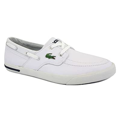 242a42bccaa7 Lacoste Newton Boat Cl Mens Laced Leather Boat Shoes White Blue - 11   Amazon.co.uk  Shoes   Bags