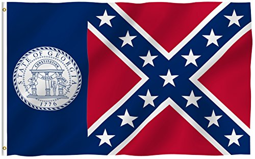 ANLEY [Fly Breeze] 3x5 Foot Old Georgia State Polyester Flag - Vivid Color and UV Fade Resistant - Canvas Header and Double Stitched - Georgia 1956-2001 Flags with Brass Grommets 3 X 5 Ft