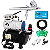 Voilamart Dual Action Airbrush Spray Gun 1/6hp Compressor Kit Needle Stencils Hose Paint Set for Beauty Make Up