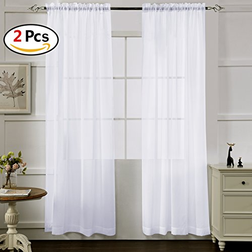 Crushed Sheer 84 Inch Curtain - White Sheer Curtains 84 Inches Long, Rod Pocket Sheer Drapes for Living room, Bedroom, 2 Panels, 52