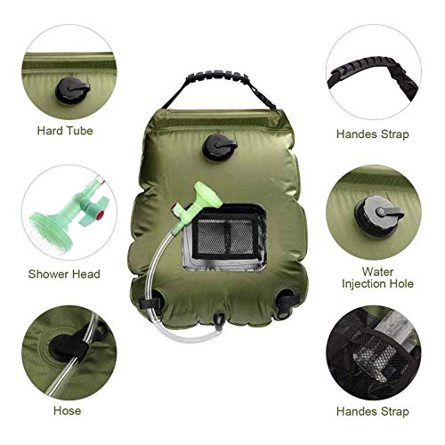 20L Car Outdoor Camping Hiking Solar Energy Heated Camp Shower Pipe Bag PortH5