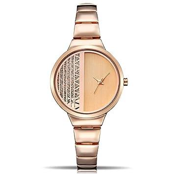 PZXY Reloj de Cuarzo Señora luz Lujo Correa de Acero Cuarzo Relojes Moda Hueco Filas de Diamantes de imitación, Relojes: Amazon.es: Hogar