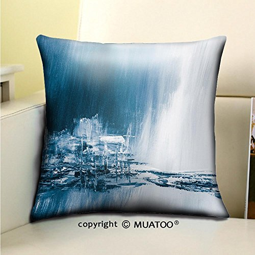 PleayeL Soft Canvas Throw Pillow Covers Cases for Couch Sofa -Blue Creative Abstract Hand Painted Background Wallpaper Texture Close up Fragment of Acrylic Print 16x 16(40 x 40 cm)