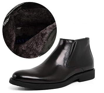 QQMBoots Hombres Botines Negro Zapatos de Cuero Botines Chelsea Boda Inteligente Formal Casual Otoño Invierno Cálido