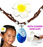 Moana Necklace & Flower Hair Clip (Gift Set) - Disney Costume Party Favor Accessories For Girls, Heart of Te Fiti, Blue Pendant, Leather, Pearl for Children Adults Kids Toys Princess Birthday Cosplay