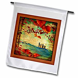 fl_99454_1 Susan Brown Designs General Themes - Castle and Leaves in Medieval Book - Flags - 12 x 18 inch Garden Flag
