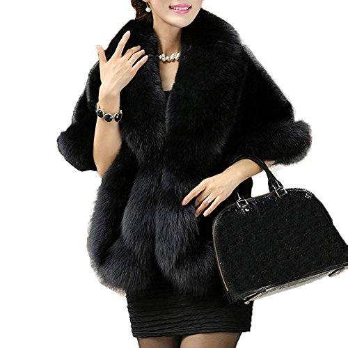 - Caracilia Women Faux Fur Coat Jacket Wrap Cape Shawl for Wedding Party Black1 89