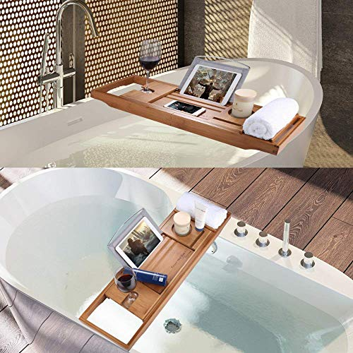 SUNFICON Bamboo Bathtub Caddy Tray with Extending Sides Mug/Wineglass/Smartphone Holder, Metal Frame Book/Pad/Tablet Holder with Waterproof Cloth Detachable Sliding Tray Non-Slip Rubber Base by SUNFICON (Image #5)