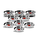 Sumeet Stainless Steel Heavy Gauge Small Halwa Plates with Mirror finish 11cm Dia - Set of 6pc