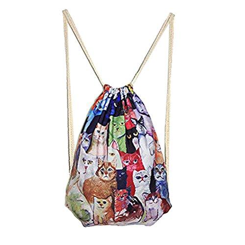 Fashion Canvas Retro Drawstring Backpack Travel Sports Gym School Shoulder Bag