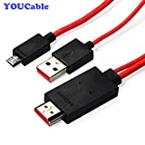 YOUCable(TM) 1080P MHL Micro USB to HDMI HDTV ADAPTER CABLE FOR SAMSUNG GALAXY S3 S4 Note 2 and MHL-Enabled Phones