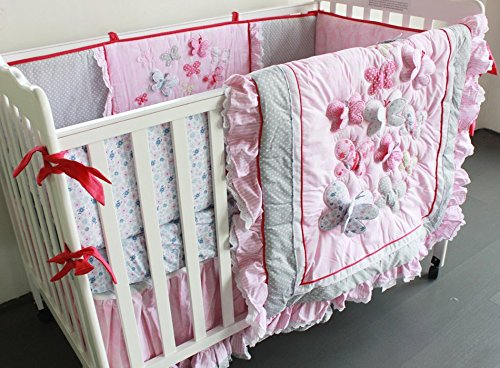 NAUGHTYBOSS Girl Baby Bedding Set Cotton 3D Embroidery Butterfly Flying Pattern Quilt Bumper Bed Skirt Mattress Cover Diaper Bag 8 Pieces Set Pink Color by NAUGHTYBOSS (Image #1)