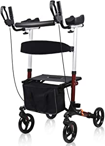 Give Me Medical Aluminum Rollator Walker,10 inches Wheels Foldable Compact Rolling Walker with Seat and Lightweight Bag (Red)