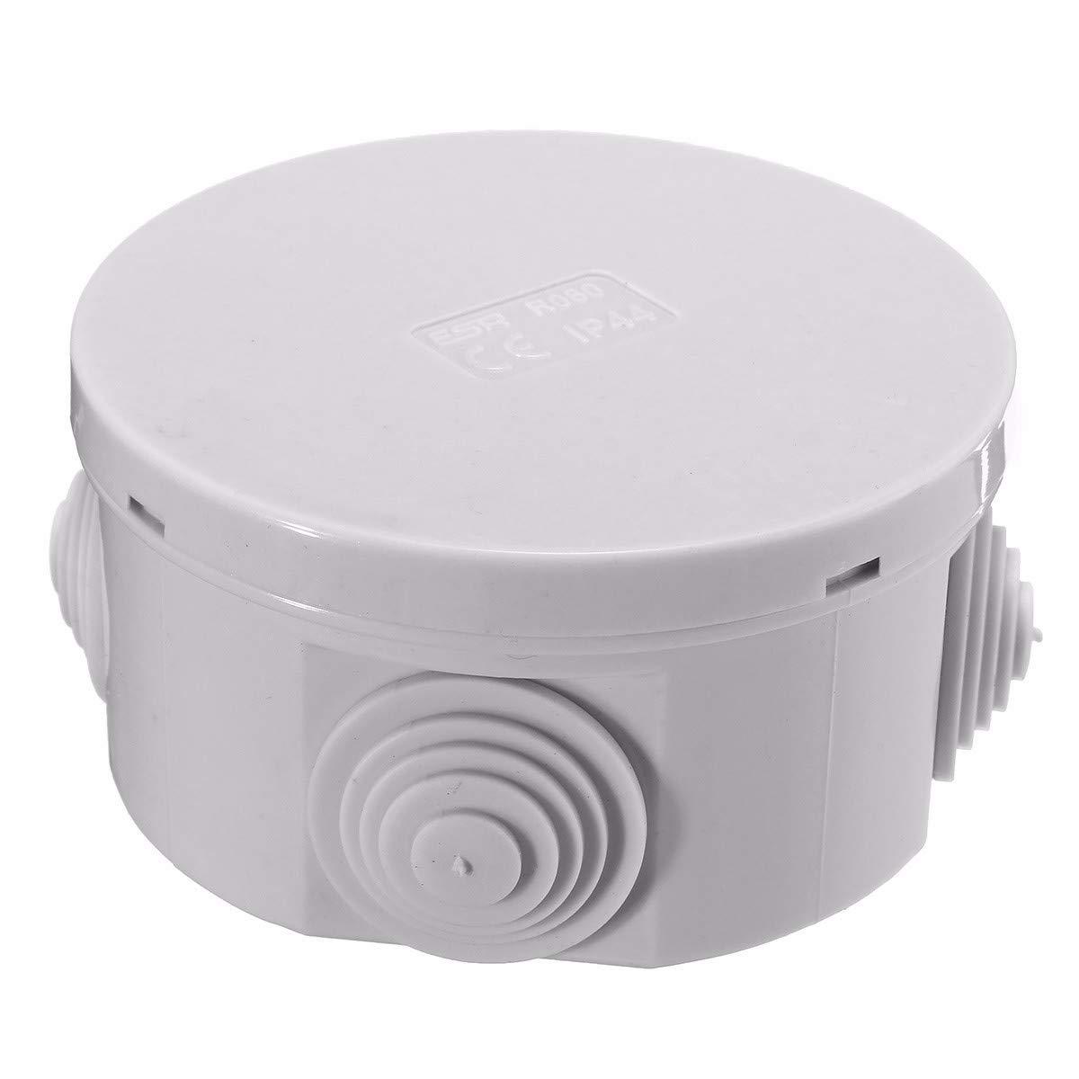 IP44 Insulated Weatherproof PVC Circular CCTV Junction Box 65x35 PACK OF 5