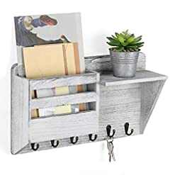 Entryway Wall Mail Holder Key Holder Wall Mounted Mail Sorter with 6 Key Hanging Hooks, Decorative Farmhouse Mail Organizer…