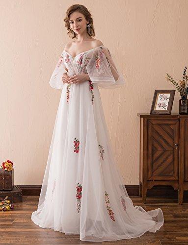 Ballkleid mit Ausschnitt Tüll Stickerei Formeller Applikationen Abendkleid Prinzessin V Erosebridal Spitze TUx7naqa8
