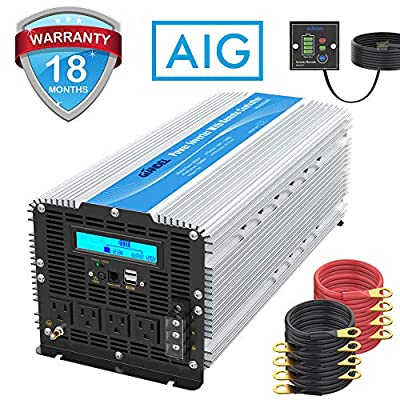 5000Watt Heavy Duty Modified Sine Wave Power Inverter DC 12volt to AC 120volt with LCD Display 4 AC Sockets Dual USB Ports & Remote Control for Truck RV and Emergency: Car Electronics