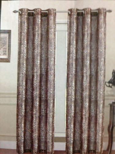 Zebra Giraffe Leopard Animal Print Faux Silk Curtain Grommets Panel (Leopard)