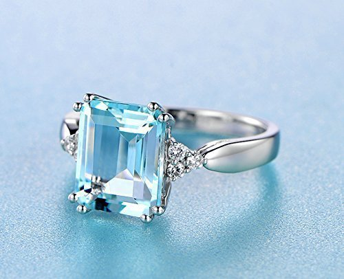 Solid 18k white gold promise ring,0.133ct SI-H Diamond Engagement ring,3.55ct Emerald 8x12mm Natural VVS blue Aquamarine,pave set ()