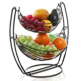 Black Double Hammock 2 Tier Fruit / Vegetables / Produce Metal Basket Rack Display Stand - MyGift
