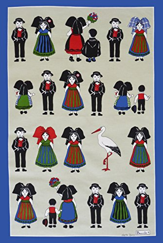 [Beauville, Belle Alsace (Beautiful Alsace France) French Kitchen / Tea Towel, Silk Screen Hand Printed, 100 Percent Cotton] (Alsace Traditional Costume)