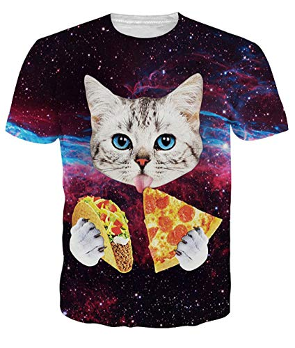 Uideazone Men's Galaxy Cat Eat Pizza Short Sleeve T-Shirt Tee Tops