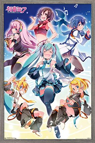 "Trends International Hatsune Miku - Group Wall Poster, 14.725"" x 22.375"", Barnwood Framed Version"
