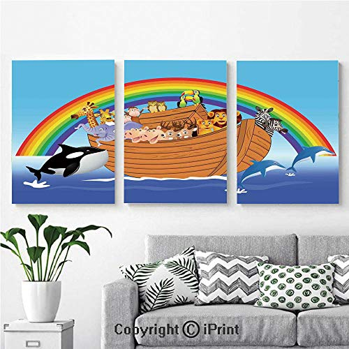 Modern Salon Theme Mural Noahs Ark with Funny Cute Animals Dolphins Swimming in Artistic Design Print Painting Canvas Wall Art for Home Decor 24x36inches 3pcs/Set, Multicolor