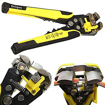 Drillpro Wire Stripping Tool Self-adjusting cable stripper for Industry 10-24 AWG Stranded Wire Cutting