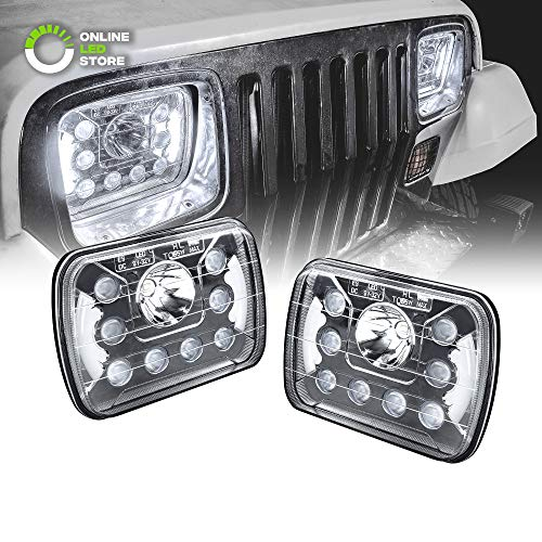 Universal 5x7 7x6 inch 45W LED Headlight with DRL Pair [Plug & Play] [Energy Efficient] [Bold Styling] [Low/High Beam] - Sealed Beam Square/Rectangular Headlight Set