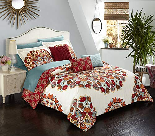 Chic Home 10 Piece Aberdeen Large Scale Paisley Bohemian Reversible Printed with Embroidered Details. Queen Bed in a Bag Comforter Set Red